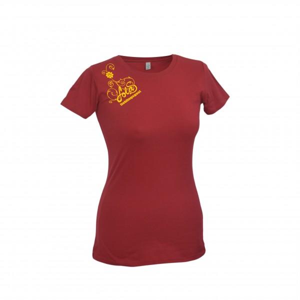 LolaS Damen T-Shirt, dunkelrot/gelb