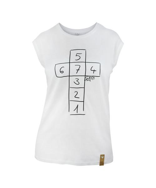 Damen T-Shirt Himmel und Hölle von André, vorne
